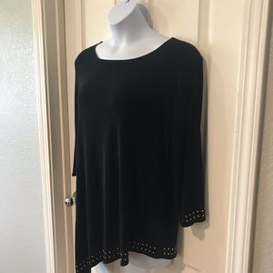 Chico's Travelers Black Gold Asymmetrical Top 3X